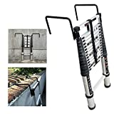 MTYLX Telescopic Ladder,Folding Ladder,Ladders,Telescoping Extension Ladder Aluminum - Multi-Purpose Extension Ladder with Detachable Hook and Non-Slip Feet - Suests 330 Lbs,2.9M/9.51Ft,2.9M/9.51Ft