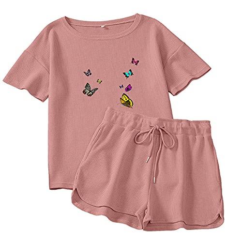 KKLLHSH Pijamas estéticos para Mujer, Conjuntos de Mariposas, Estampado artístico, Cuello Redondo, Camiseta de Manga Corta, Simple, Suelto, Elegante, Pijama-3_XL