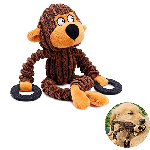 Bello Luna Monkey Dog Piepend speeltje met rubberen ring voor puppy Small Medium Large Dogs