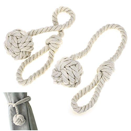 Sumnacon ロープ式 カーテンタッセル カーテン留め飾り カーテン アクセサリー ロープタッセル 紐 締め 2個セット (ベージュ)
