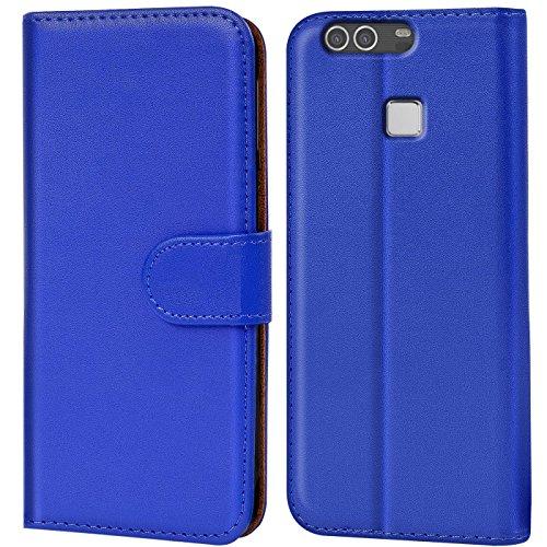Verco P9 Plus Hülle, Handyhülle für Huawei P9 Plus Tasche PU Leder Flip Case Brieftasche - Blau