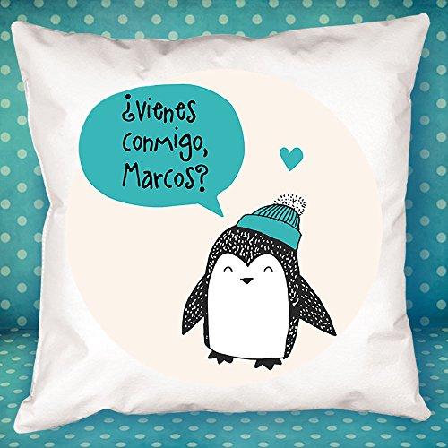 Calledelregalo Cojín Personalizado pingüino Azul - Regalo Original y Divertido para el cumpleaños de un Amigo, tu Pareja en vuestro Aniversario, Navidad, Día de la Madre, Día del Padre.