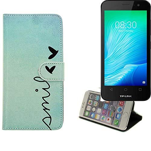 K-S-Trade® Schutzhülle Für TP-LINK Neffos Y50 Hülle Wallet Case Flip Cover Tasche Bookstyle Etui Handyhülle ''Smile'' Türkis Standfunktion Kameraschutz (1Stk)