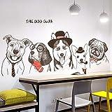 Divertido lindo pintado a mano de perro Tatuajes de pared Decoración Art Peel Stick, grande extraíble'THE DOG CLUB' Animal Pegatinas de pared (Cinco perros)