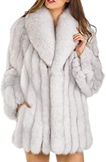 Weixinbuy Women Luxury Fluffy Faux Fur Lapel Collar Thick Coat Jacket Winter Warm Clothes