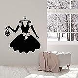 wZUN Vestido Negro Mujer Moda Estudio Ropa Compras Vinilo Pared calcomanía decoración del hogar Tienda Pared Pegatina Regalo 51X54cm