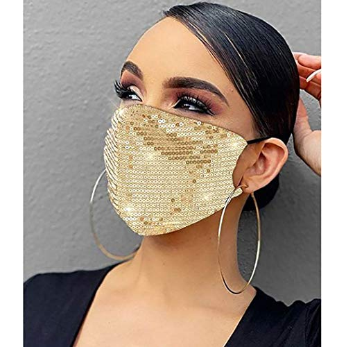 Fstrend Sparkly Sequins Mouth Covering Colorful Masquerade Halloween Ball Party Nightclub Cover for Women and Girls(Gold)