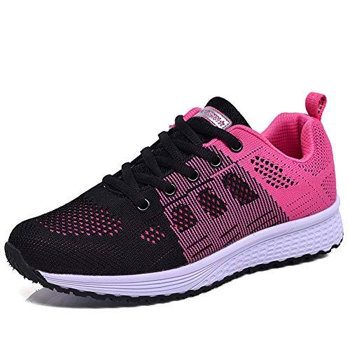 Damen Turnschuhe Hallenschuhe Atmungsaktiv Outdoor Fitnessschuhe Laufschuhe Schnürsenkel Frauen Sportschuhe Flach Rosa 42 EU