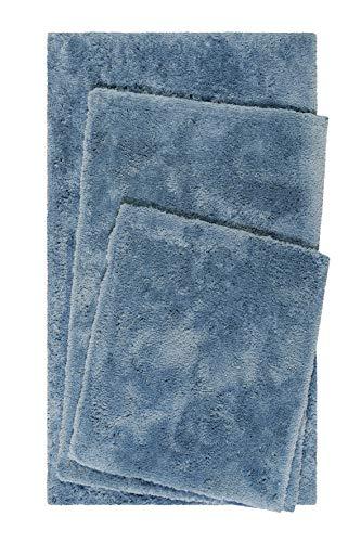 Homie Living Badteppich, Badematte kuscheliger Flauschiger weicher Flor l rutschfest und Waschbar Porto Azzurro (55 x 65 cm, Blau)