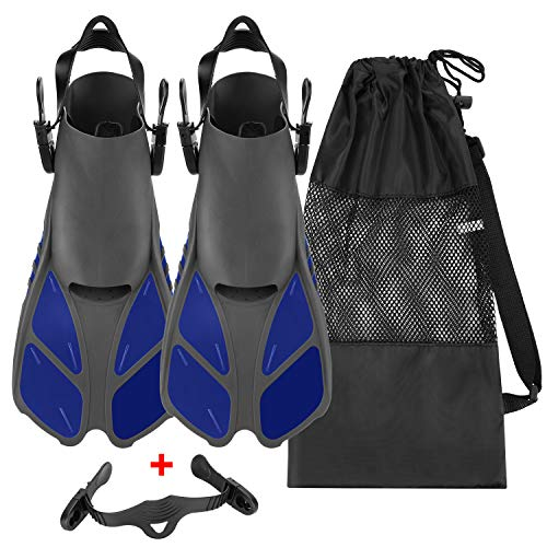 Oumers Snorkel Fins, Travel Size Adjustable Strap Diving Flippers with Mesh Bag and Extra Buckle Connector for Men Women Snorkeling Diving Swimming