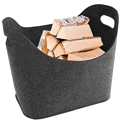 OVAREO Bolsas de fieltro para leña, bolsas de fieltro, cesta de fieltro para periódicos, cesta de fieltro para leña de chimenea, gran bolsa de fieltro, revistero o leña, 1 unidad