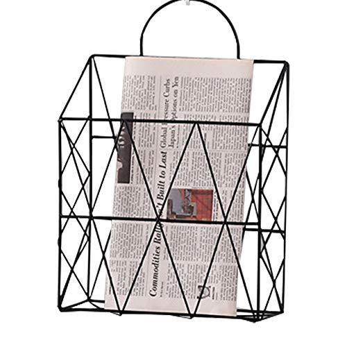 Cratone Magazinhalter hängend Zeitschriftensammler Weiß Metal Zeitungshalter Gitter Zeitungshalter Wand Bücherregal Aufbewahrungskorb Gitter Pinnwand, für Büro Bad Küche (Schwarz-1)