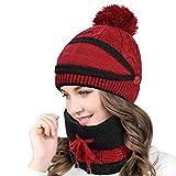 Yuson Girl 3 en 1 Mujer Bufandacon Cubierta Facial Conjunto de Gorro y Bufanda de Punto Cálido Forro Polar de Invierno Cuello Elástico Ajustable Caramelo Beige Blanco Rojo Azul