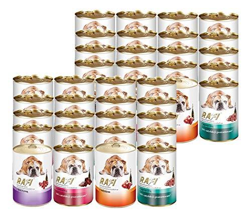 Rafi 60x400g Dosen Mix Rind + Lamm + Truthahn + Wild Nassfutter Hundefutter