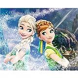 Kit de pintura de diamante 5D por número, Frozen 2 princesa Anna y Elsa taladro completo bordado punto de cruz suministros de imagen arte arte adhesivo de pared decoración de 27 x 45 cm