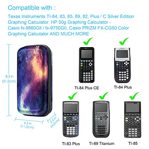 Graphing Calculator Carrying Case for TI-84 Plus CE, Fintie Hard EVA Shockproof Protective Box for TI-84 Plus/TI-83 Plus CE/Casio fx-9750GII (Galaxy) Photo #4