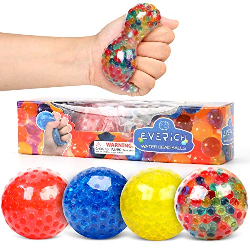 INPODAK Anti-Stress-Bälle für Kinder und Erwachsene, Spielzeug zur Angstlinderung, bunt, Quetsch-Spielzeug, sensorischer Ball mit Wasserperlen, perfektes Stress-Spielzeug für Geschenke