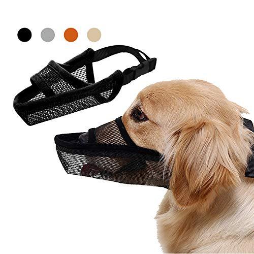 TANDD Maulkorb für Hunde, aus weichem Nylon, verstellbar, atmungsaktiv, Netz-Maulkorb/Hundemaske/Mundbedeckung gegen Beißen, Anti-Bell-Lecken (L, schwarz)