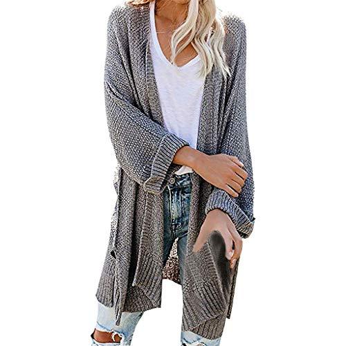 TAMALLU Damen Einfarbig Langarm Strickjacke Warm Strickpullover Sweater(Grau,XL)