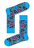 Happy Socks, calcetines de algodón estampados coloridos para hombres y mujeres Multi leopardo azul. 36-40