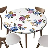 """SfeatrutMAT Elastic Edged Polyester Fitted Table Cover,Flower Pattern,Fits up 40""""-44"""" Diameter Tables,The Ultimate Protection for Your Table"""