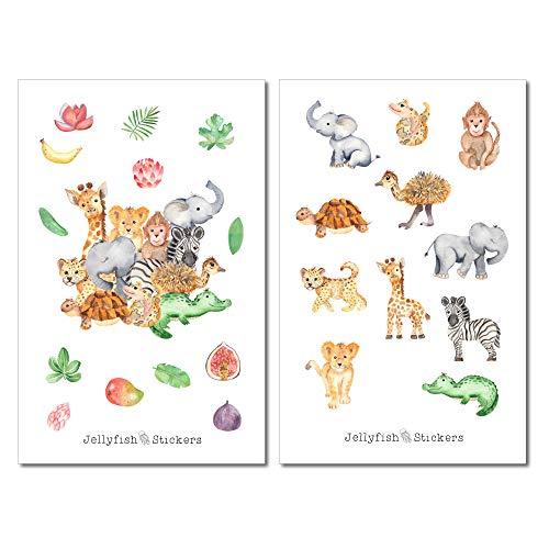 Baby Tiere Afrika Sticker Set | Niedliche Aufkleber | Journal Sticker | Planersticker | Sticker Löwe, Elefant, Giraffe | Sticker Tierbabys