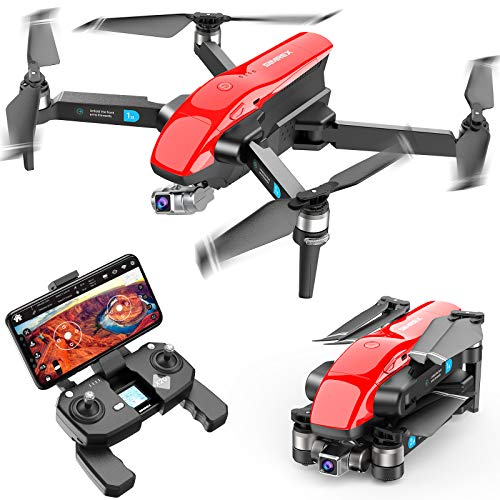 SIMREX X20 GPS Drone with 4K HD Camera 2-Axis Self stabilizing Gimbal 5G WiFi FPV Video RC Quadcopter Auto Return Home with Follow Me Altitude Hold Headless Brushless Motor Remote Control Red