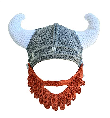 Viking Horned Hand Knitted Hat Helmet with Red Beard
