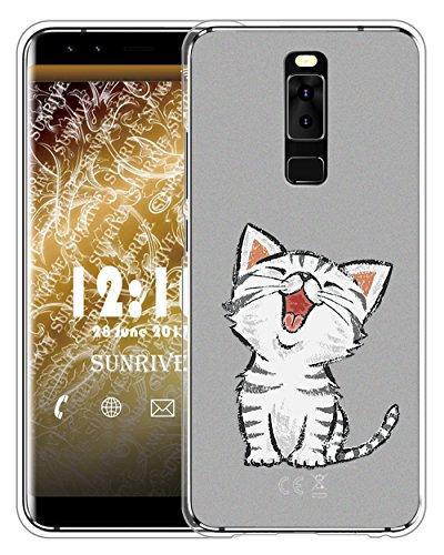 Sunrive Für Leagoo S8 Hülle Silikon, Handyhülle matt Schutzhülle Etui Case Backcover für Leagoo S8(TPU Katze 2)+Gratis Universal Eingabestift