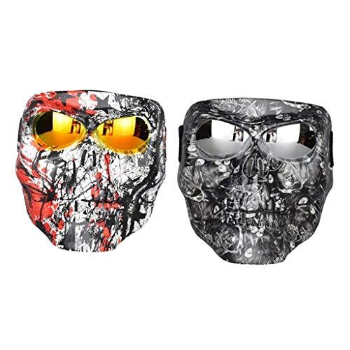 B Blesiya 2xGoggle & Mask para Casco de Motocicleta de Cara Abierta Visor Guard Goggles