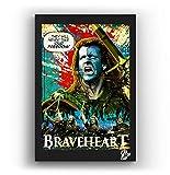 William Wallace de la película Braveheart - Pintura Enmarcado Original, Imagen Pop-Art, Impresión Póster, Impresion en Lienzo, Cuadro, Cómics, Cartel de la Película
