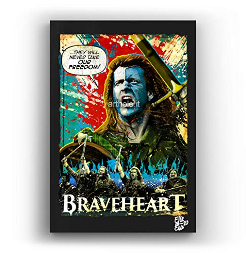William Wallace aus dem Film Braveheart - Original Gerahmt Fine Art Malerei, Pop-Art, Poster, Leinwand, Artwork, Film Plakat, Leinwanddruck