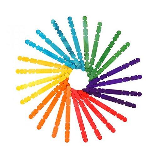 i-mondi Palitos de madera manualidades para unir colores surtidos 100 piezas tamaño 2 x 10 x 114 mm de textura lisa al tacto