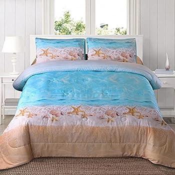 A Nice Night Boho Bohemian Comforter Set Sand Star Ocean Beach Printed Soft Microfiber Queen Bedding Set  Boho-Sand