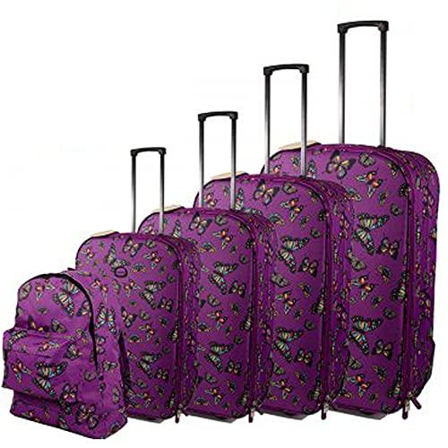 Juego de maleta de viaje con diseño de mariposas, color morado