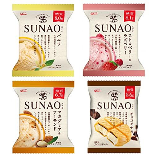 江崎グリコ SUNAO(スナオ)アイス クリーム 24個入(バニラ6個・ストロベリー&ラズベリー6個・マカダミア&アーモンド6個・チョコモナカ6個)
