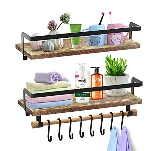 SHAN ZU Juego de 2 estantes flotantes montados en la pared, estante de almacenamiento de madera rústica con barra de toalla y 8 ganchos extraíbles para organizador de dormitorio baño cocina