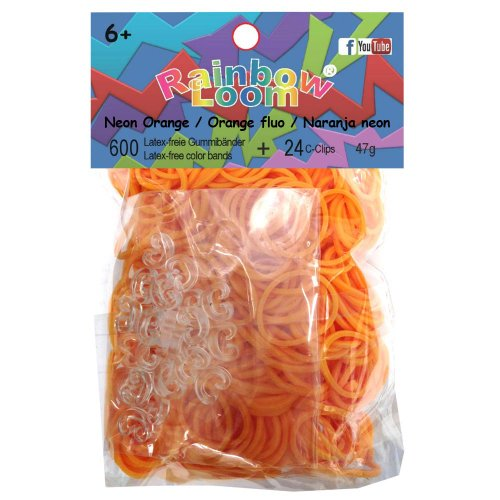 Rainbow Loom Twistz Bandz Rubber Band Refill + C-Clips - Neon Orange