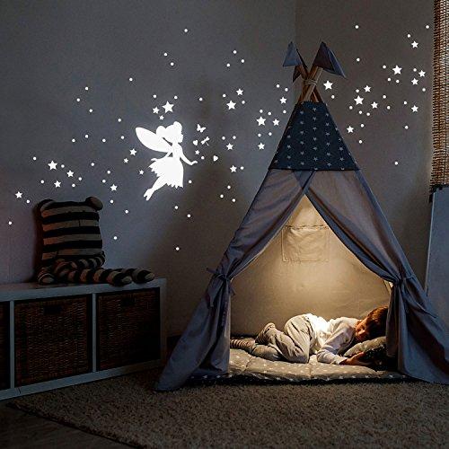 ilka parey wandtattoo-welt Leuchtsticker Sternenhimmel Leuchtaufkleber Wandtattoo mit Elfe Fee Sterne & Punkte Set 117 Stück fluoreszierend M2213