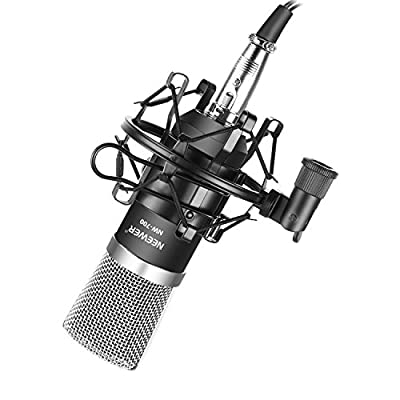 Neewer® NW-700 Professional Studio Broadcasting & Recording Condenser Microphone Set Including: (1)NW-700 Microphone + (1)Shock Mount + (1)Ball-type Anti-wind Foam Cap + (1)Audio Cable (Black)