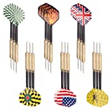 Tebery Steel Tip Darts Set 18 Grams with 6 Style Flights, PVC Dart