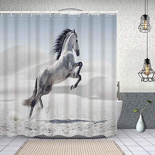 MAYUES Cortina de Ducha Impermeable Caballo Pony Gris galopando sobre el Movimiento Majestuoso Animal Salvaje Tema de Poder y Gracia Cortinas baño con Ganchos Lavable a Máquina 62x72 Inch