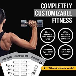 """Exercise Cards Dumbbell Vol 1 Home Gym Workouts Strength Training Building Muscle Total Body Fitness Guide Workout Routines Bodybuilding Personal Trainer Large Waterproof Plastic 3.5""""x5"""" Cards"""