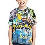 VOSGA Kids' Pokemon Pikachu 3D T-Shirt Boys Casual Short-Sleeved Tee Blue