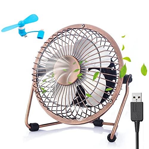 Olywee Ventilador USB de escritorio de 6 pulgadas, mini ventilador portátil, sin escobillas, pequeño ventilador silencioso para el hogar, oficina, ordenadores portátiles, portátiles (bronce)