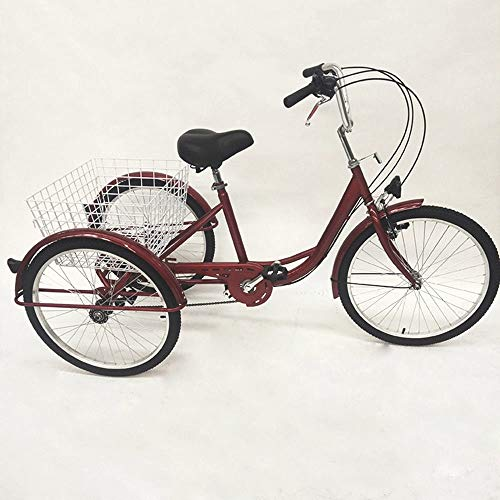 Futchoy Triciclo de 24 pulgadas, 6 velocidades, para adultos, triciclo de 3 ruedas, bicicleta para adultos, triciclo de la compra para transporte con cestas, color rojo