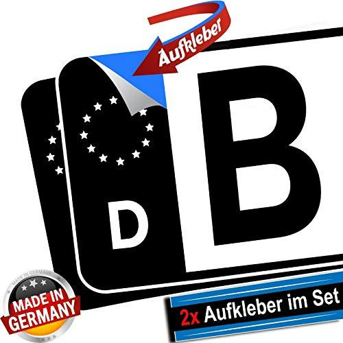 conkor Kennzeichen-Aufkleber in schwarz 2X EU D Sticker Tuning für das Nummernschild