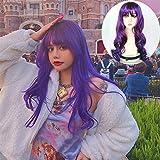 HYISHION Peluca de Moda con Flequillo de Aire para Mujer- Cabello Largo Ondulado y Rizado- Peluca Sintética Resistente al Calor- Cosplay Peluca Dama- Peluca Violeta Lavanda Adecuado para Niñas