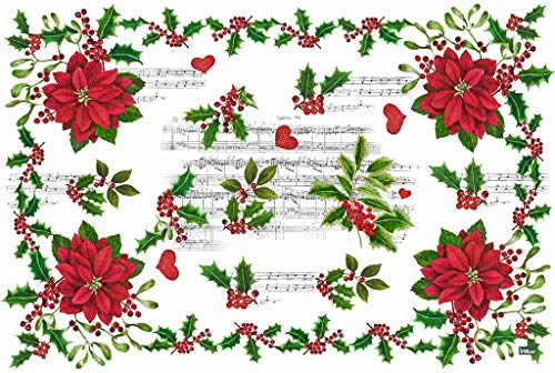 Vilber Flor Color 1, Pack 2 Manteles Individuales Vinilo Navidad