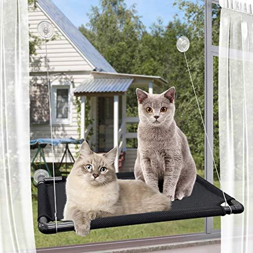 Amaca per Gatti, PTN Cat Window Persch Hammock Bed per Gatti Taglia Grande Interni, Lettino Gatti, Kitty Sunny Seat, Letto per Seggiolino per Animali Domestici con Versione Aggiornata 4 Grandi Ventose